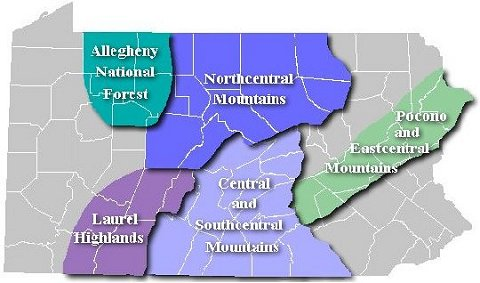Map showing the regions of Pennsylvania containing State Forest snowmobile trails