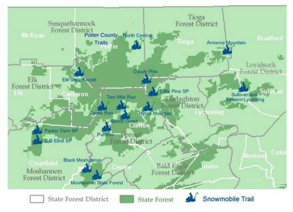 Map showing snowmobile trail locations within the northcentral mountains region of Pennsylvania