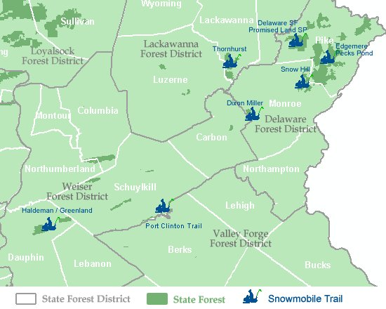 Map showing snowmobile trail locations within the Pocono and eastcentral mountains region of Pennsylvania